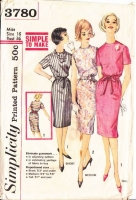 Simplicity 3780 60s Mad Men Simple Slim Dress Sewing Pattern  16 B36 Used