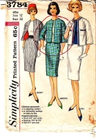 Simplicity 3784 60s Jackie O Suit, Jacket, Slim Skirt Sewing Pattern 12 B32 Used