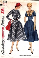 Simplicity 3976 Long or Short Sleeve Dress, Detachable Collar Sewing Pattern 16 B34 Used