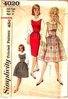 Simplicity 4020 60s Sub-Teen Jumper Dress, Full or Slim Skirt Sewing Pattern 12 B31 Used