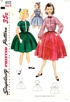 Simplicity 4101 50s Girls' Pintuck Dress Sewing Pattern 8 B26 Uncut