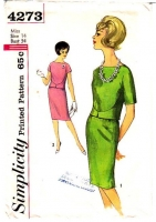 Simplicity 4273 Two-Piece Dress Top Skirt Vintage Sewing Pattern 60s 14 B34 Used