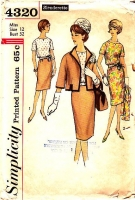 Simplicity 4320 60s Jackie O Suit, Jacket, Blouse, Skirt Sewing Pattern 12 B32 Used
