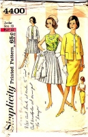 Simplicity 4400 50s Knife Pleat or Slim Skirt, Sleeveless Blouse, Jacket Sewing Pattern 13 B33 Used