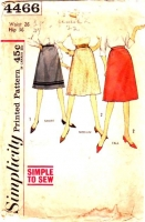 Simplicity 4466 60s Flared Skirt Sewing Pattern Waist 26 Used