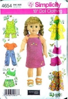 "Simplicity 4654 18"" Doll Clothing, Top, Shorts, Dress Sewing Pattern Uncut"