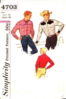 Simplicity 4703 60s Men's Fitted Western Shirt Sewing Pattern N15 C38 Used