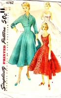 Simplicity 4782 50s Sleeveless, Empire Waist Dress, Jacket Sewing Pattern 11 B29 Uncut