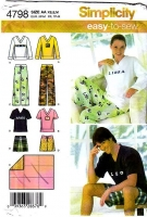 Simplicity 4798 Pajamas, PJs, Top, Shirt, Shorts Sewing Pattern XS-M Uncut