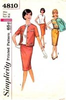 Simplicity 4810 60s Slim Skirt, Back Button Top and Jacket Sewing Pattern 16 B36 Used