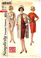 Simplicity 4845 Wiggle Dress Coat Sewing Pattern 60s 14 B34 Used
