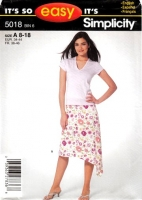 "Simplicity 5018 Diagonal Hemline Skirt Sewing Pattern Sizes 8-18 Waist 24-32"" Uncut"