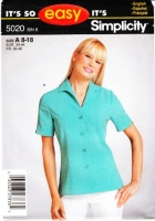 Simplicity 5020 Button Front Blouse, Wing Collar, Short Sleeve  Sewing Pattern 8-18 B31-40 Uncut