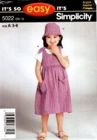 Simplicity 5022 Child's Dress Jumper Romper Hat Sewing Pattern 3-8 Uncut