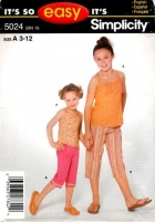 Simplicity 5024 Child's Girls Capri Pants & Top Sewing Pattern 3-12 Uncut