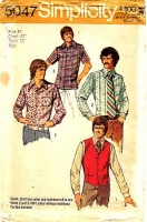 Simplicity 5047 70s Men's Shirt & Vest Sewing Pattern 42 Neck 16 Used
