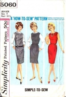 Simplicity 5060 Easy Sleeveless Shift Jumper, Wiggle Dress Sewing Pattern  9 B30 Used