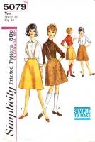Simplicity 5079 60s Teen Suspender Skirt Sewing Pattern Waist 25 Used
