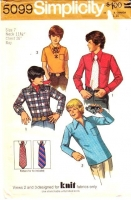 Simplicity 5099 Boys Dress Shirts and Tie Sewing Pattern 7  Uncut