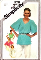 Simplicity 5108 Flutter Sleeve Tunic Top Sewing Pattern 12 B34 Uncut