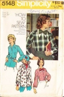 Simplicity 5148 70s Bow Tie Secretary Blouse, Shirt Sewing Pattern 12 B34 Uncut