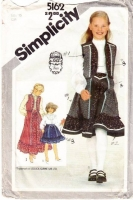 Simplicity 5162 Girl's Skirt, Blouse, Vest Sewing Pattern 10 Uncut