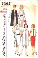 Simplicity 5263 60s Shift Dress & Duster Coat Sewing Pattern 14 B34 Used
