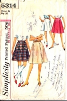 Simplicity 5314 60s Flared Skirt Sewing Pattern Waist 26 Used