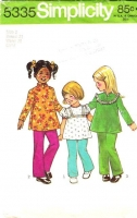 Simplicity 5335 70s Childs' Tunic Top & Pants Sewing Pattern 2 B21 Used