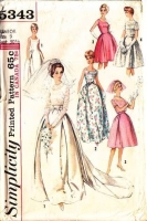 Simplicity 5343 60s Wedding, Bridesmaid, Prom Dress Sewing Pattern 9 B30 Used