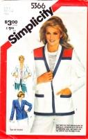 Simplicity 5366 Unlined, Shawl Collar Jacket Sewing Pattern 8-12 B31.5-34 Uncut