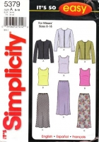 Simplicity 5379 Knit Cardigan, Sleeveless Top, Bias Skirt Sewing Pattern 8-18 B31-40 Uncut