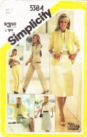Simplicity 5384 Skirt, Straight Leg Pants, Blouse, Lined Jacket Sewing Pattern 12 B34 Uncut
