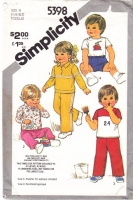 Simplicity 5398 Toddler Pullover Tops, Pull-on Pants, Shorts Sewing Pattern .5-2 Uncut