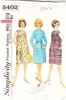 Simplicity 5402 60s Patch Pocket House Dress Sewing Pattern 18 B38 Used