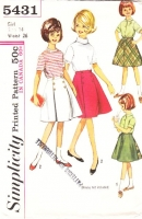Simplicity 5431 60s Girls Wrap-around Reversible Skirt Sewing Pattern 14 Waist 26 Used