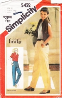 Simplicity 5432 Baggie Pants with Tapered Legs Sewing Pattern 12 Waist 26 Uncut