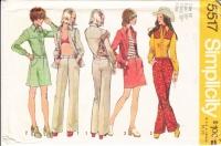 Simplicity 5517 70s Shirt Jacket, Hip-Hugger Mini-Skirt, Hip-Hugger Pants Sewing Pattern 16 B38 Uncut