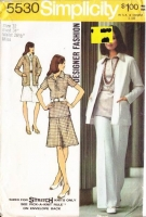 Simplicity 5530 70s Cardigan Jacket, Blouse, Skirt & Pants Sewing Pattern 12 B34 Uncut