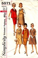 Simplicity 5571 60s Maternity Dress, Jumper, Top Skirt & Dickey Sewing Pattern 18 B38 Used