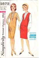 Simplicity 5572 60s Deep V Neck Jumper Dress and Blouse Sewing Pattern 9jp B32 Used
