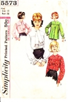 Simplicity 5573 60s Tie Collar Blouse, Smock Top Sewing Pattern 18 B38 Used