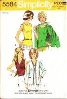 Simplicity 5584 V-Neck or Round Neck Knit Top & Cardigan Jacket Sewing Pattern 12 B34 Used