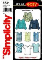 Simplicity 5634 Dashiki Neckline Pullover Top Sewing Pattern 10-20 B32-42 Uncut