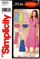Simplicity 5650 Girls Tank, Scoop Neck Dress & Shrug Jacket  Sewing Pattern G7-8 Used
