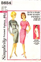 Simplicity 5654 60s Simple Slim Fitted 1960s Wiggle Dress Sewing Pattern Junior 9 B30 Used
