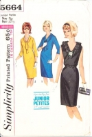 Simplicity 5664 V-Neck 1960s Belted Wiggle Dress with Tie or Ruffle Sewing Pattern 9jp B32 Used