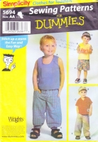 Simplicity 5694 Toddler Pants, Visor, Tank or V-Neck Top Sewing Pattern .5-2 Uncut