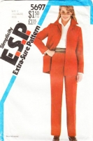 Simplicity 5697 Boxy Shirt Jacket & Straight Leg Pull-on Pants Sewing Pattern 16-20 B38-42 Used