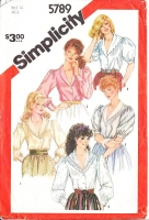 Simplicity 5789 Shawl Collar, Puff Sleeve, Button Front Shirt Sewing Pattern 12 B34 Uncut